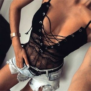 Strappy Lace Sheer Tie Front Black Teddy Bodysuit